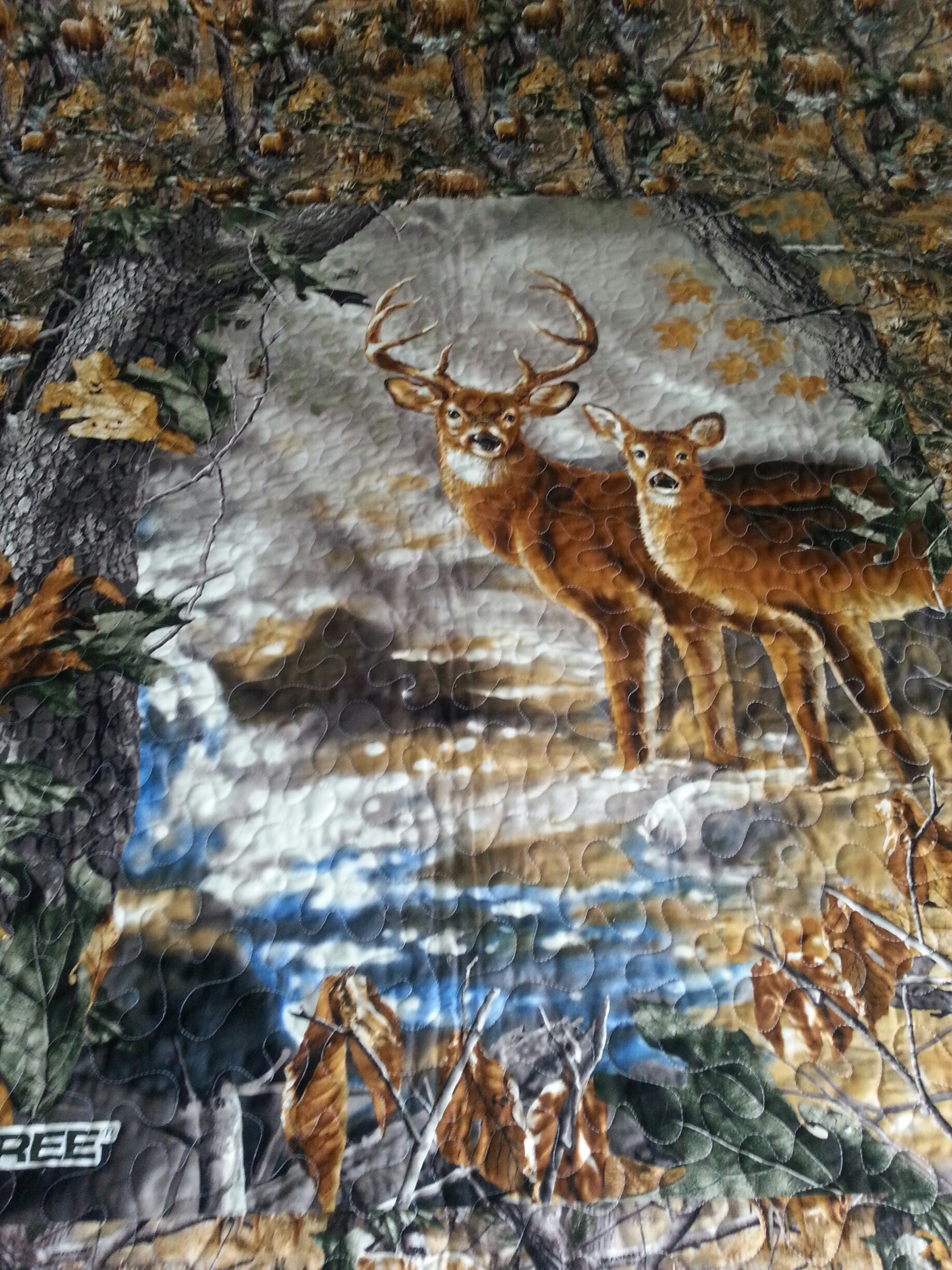 Hunting Deer Quilt Back - Jaded Spade Creations