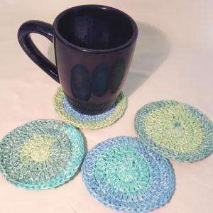 Aqua Green Cotton Drink Coasters