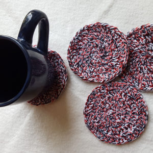Red, White, & Black Cotton Drink Coasters