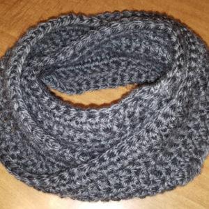 Grey Chunky Infinity Crochet Scarf