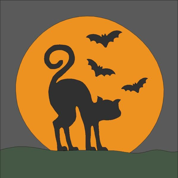 Halloween Cat Applique Quilt Block Pattern