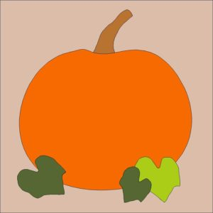 Fall Pumpkin Applique Quilt Block Pattern